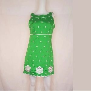 Lilly Pulitzer Dress Green White Embroidery 6